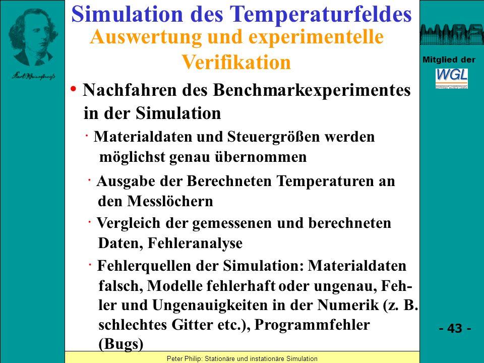 Simulation des Temperaturfeldes Auswertung und experimentelle