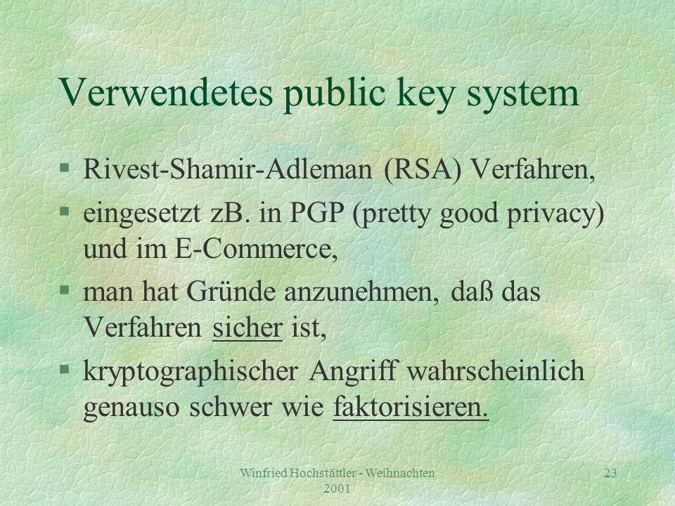Verwendetes public key system