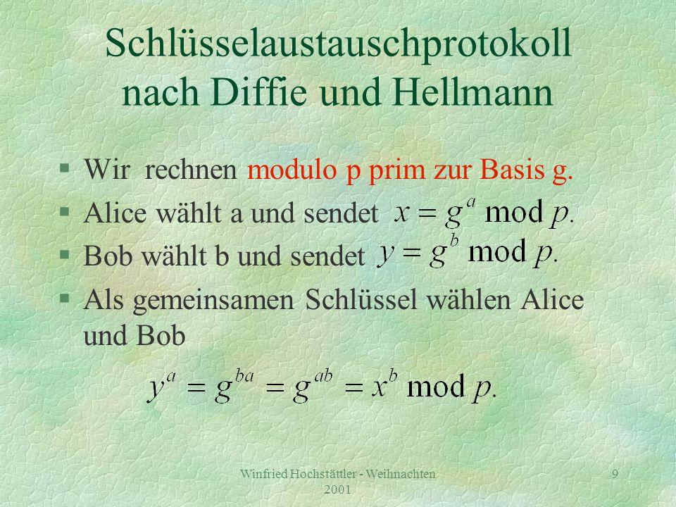 Schlüsselaustauschprotokoll nach Diffie und Hellmann