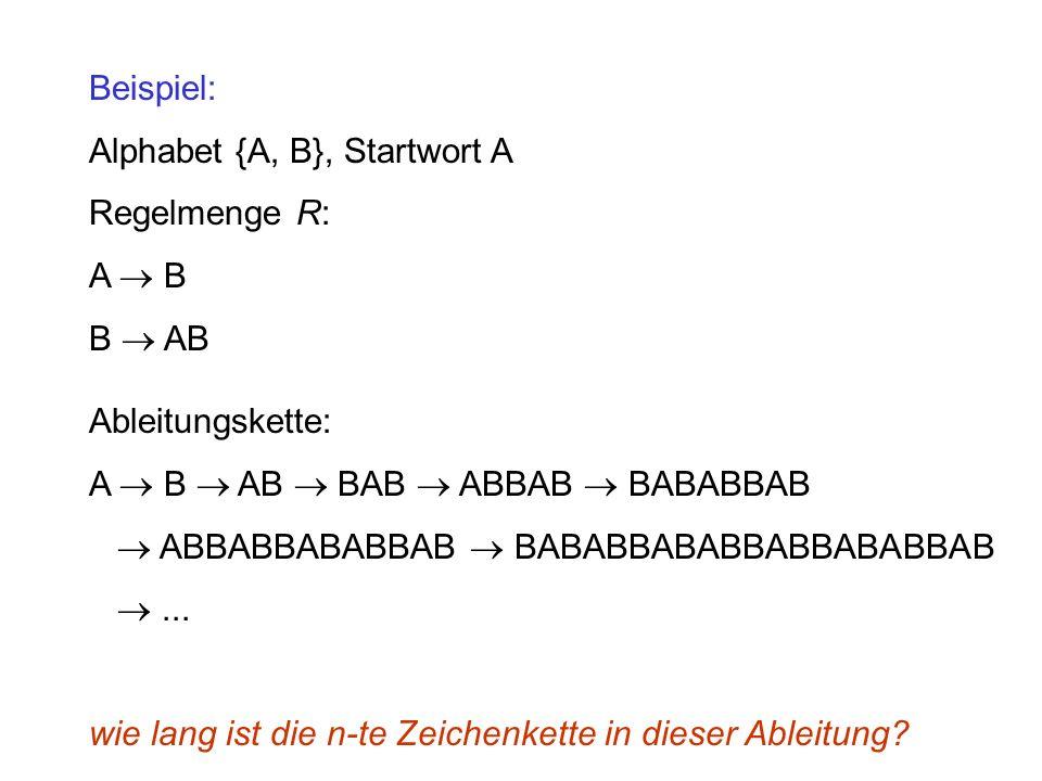 Beispiel: Alphabet {A, B}, Startwort A. Regelmenge R: A  B. B  AB. Ableitungskette: A  B  AB  BAB  ABBAB  BABABBAB.