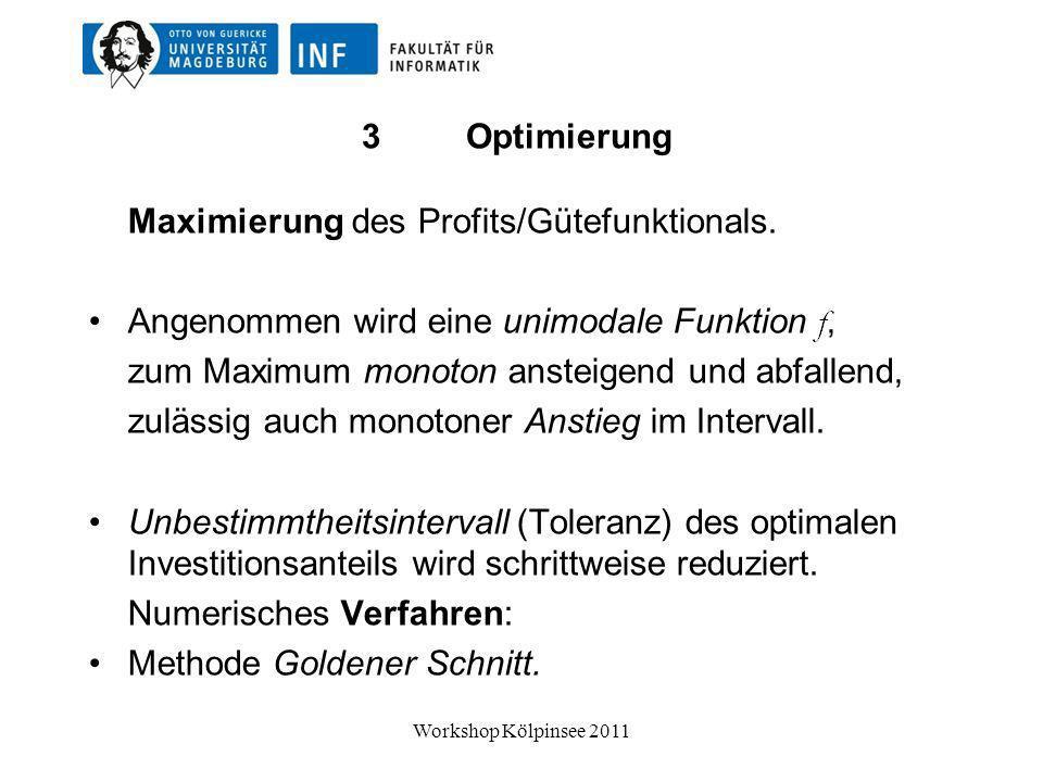 Maximierung des Profits/Gütefunktionals.