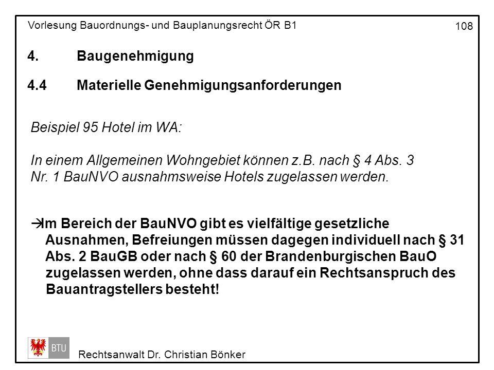 4. Baugenehmigung 4.4 Materielle Genehmigungsanforderungen. Beispiel 95 Hotel im WA:
