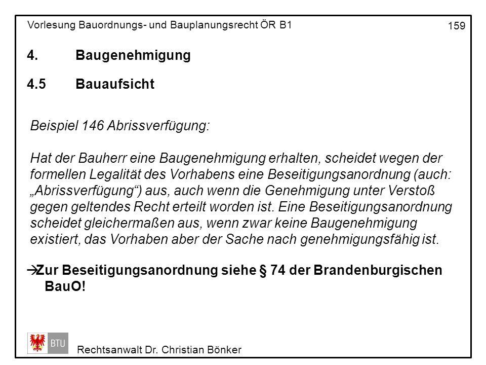 4. Baugenehmigung 4.5 Bauaufsicht. Beispiel 146 Abrissverfügung: