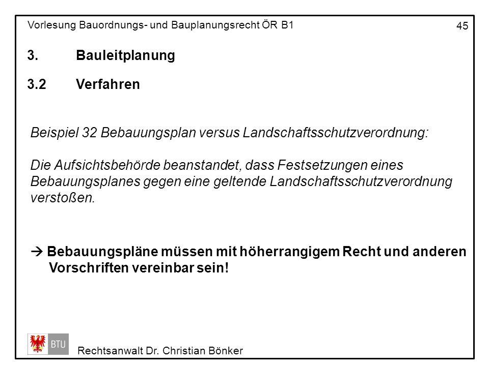 3. Bauleitplanung 3.2 Verfahren. Beispiel 32 Bebauungsplan versus Landschaftsschutzverordnung: