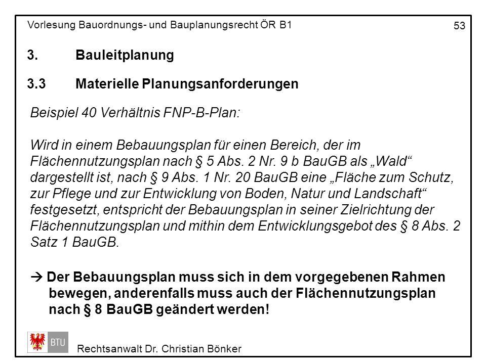 3. Bauleitplanung 3.3 Materielle Planungsanforderungen. Beispiel 40 Verhältnis FNP-B-Plan: