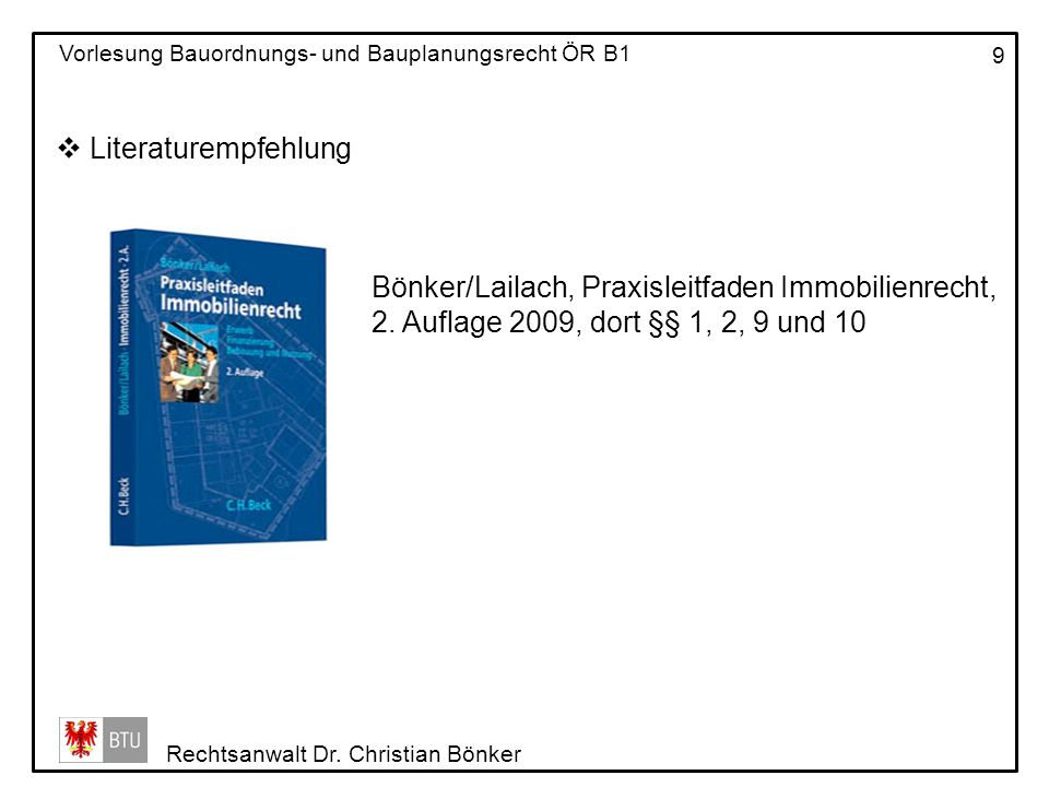 Literaturempfehlung Bönker/Lailach, Praxisleitfaden Immobilienrecht, 2.