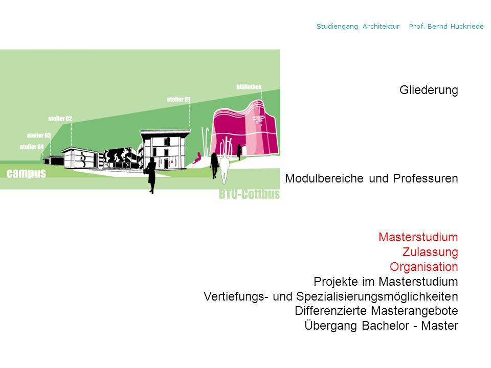 Gliederung Modulbereiche und Professuren. Masterstudium. Zulassung. Organisation. Projekte im Masterstudium.