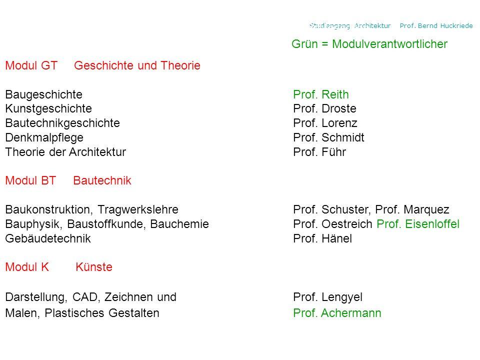 Die Modulbereiche und die 4 Professoren: