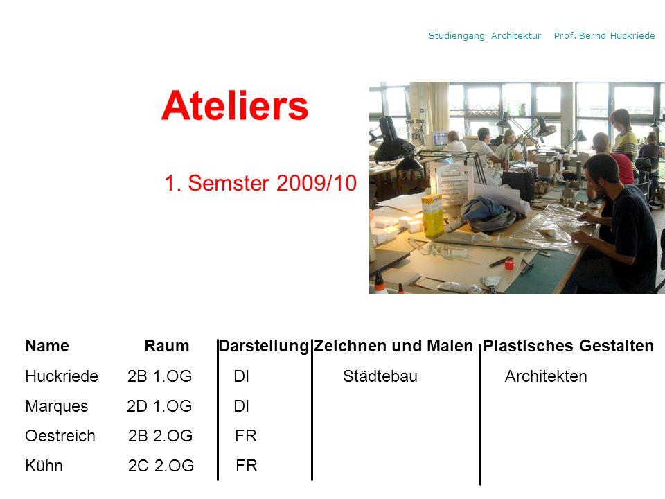 Ateliers 1. Semster 2009/10. Name Raum Darstellung Zeichnen und Malen Plastisches Gestalten.