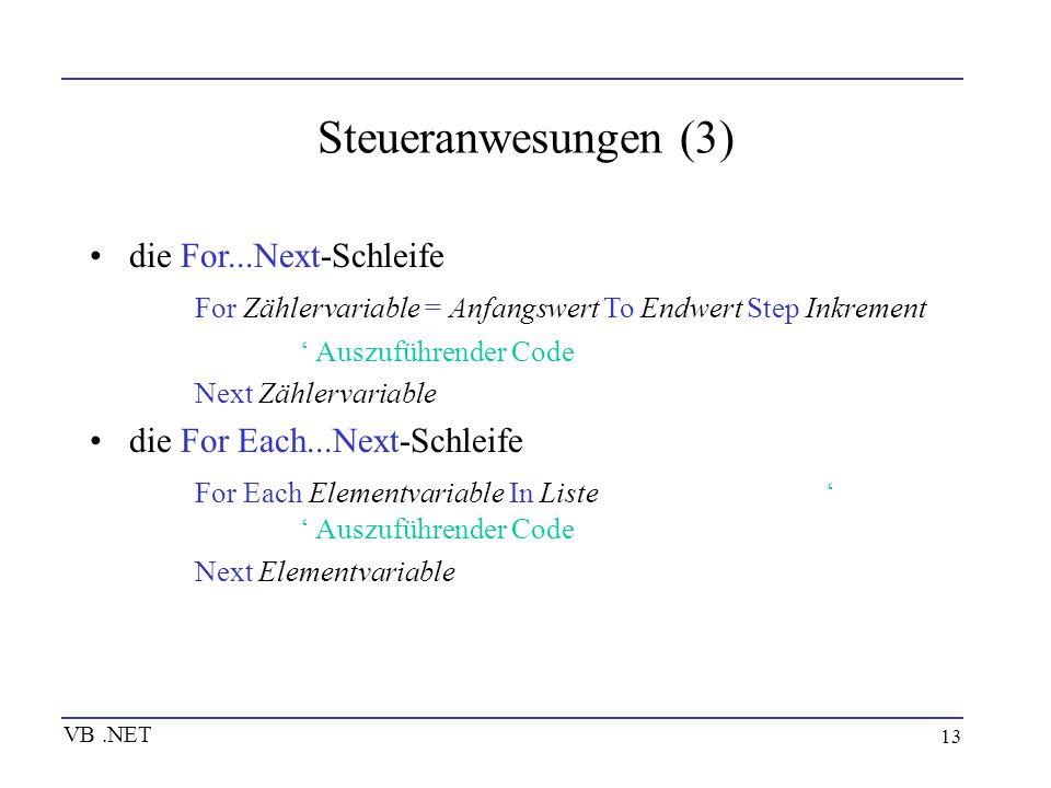 Steueranwesungen (3) die For...Next-Schleife