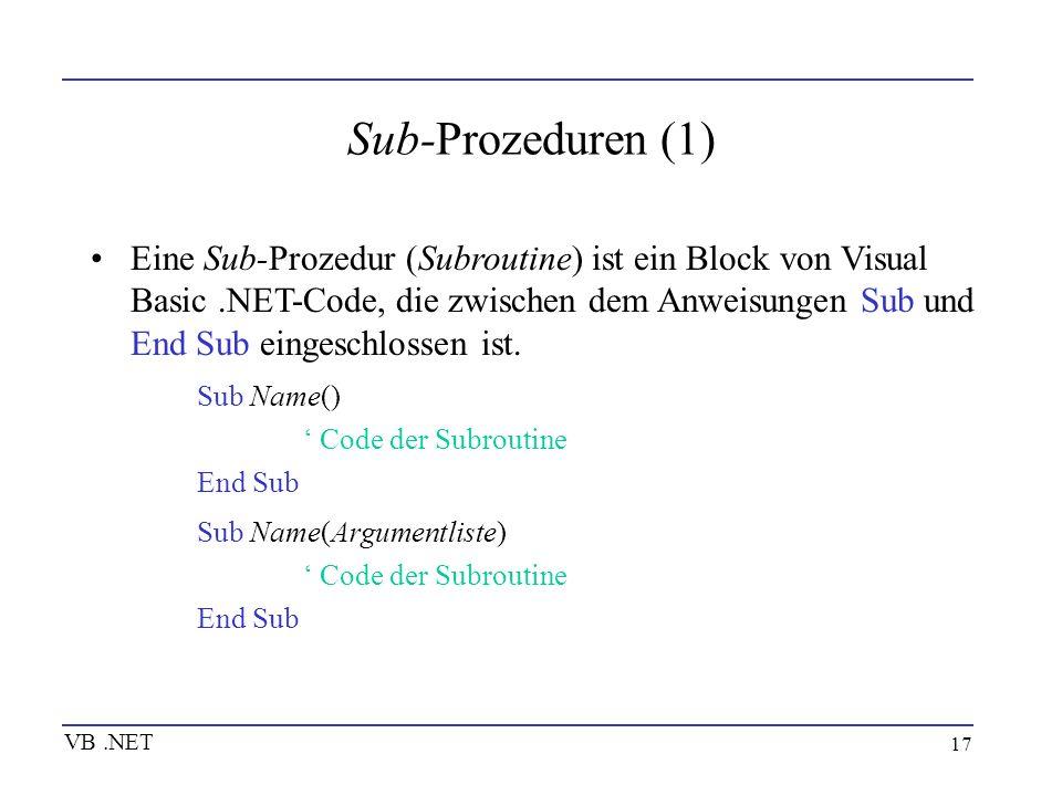 Sub-Prozeduren (1)