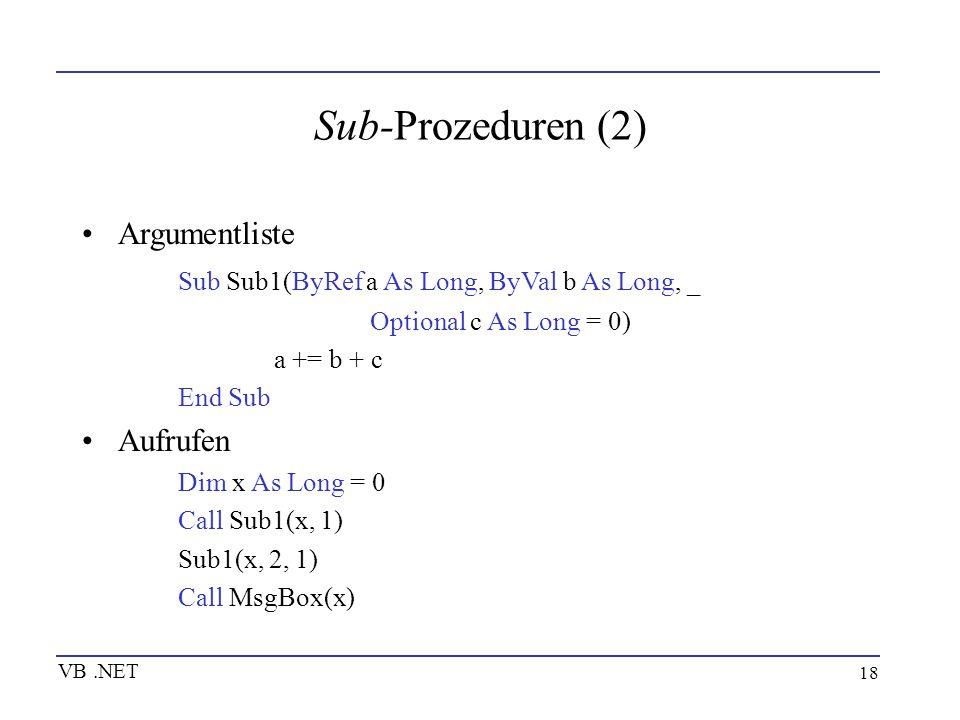 Sub-Prozeduren (2) Argumentliste