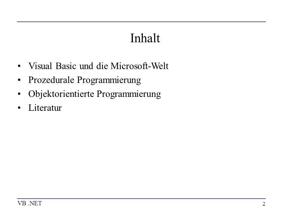 Inhalt Visual Basic und die Microsoft-Welt Prozedurale Programmierung