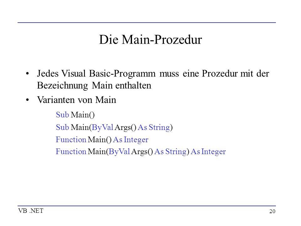 Die Main-Prozedur Jedes Visual Basic-Programm muss eine Prozedur mit der Bezeichnung Main enthalten.