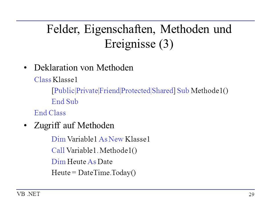 Felder, Eigenschaften, Methoden und Ereignisse (3)