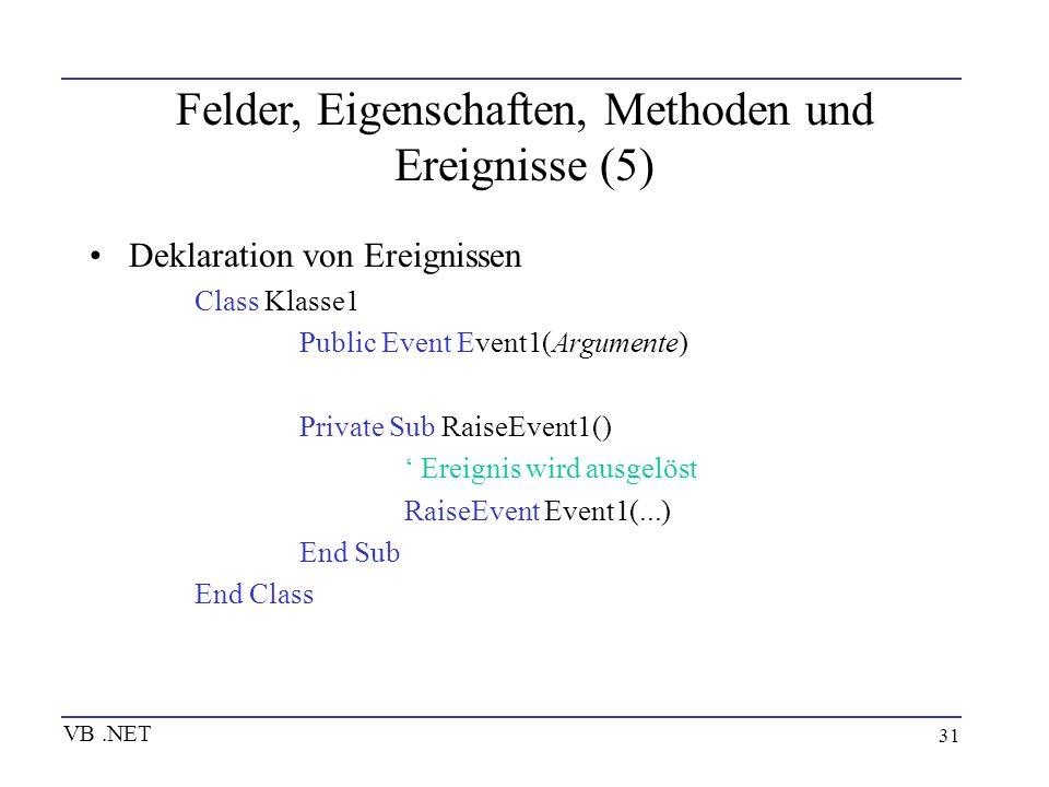 Felder, Eigenschaften, Methoden und Ereignisse (5)