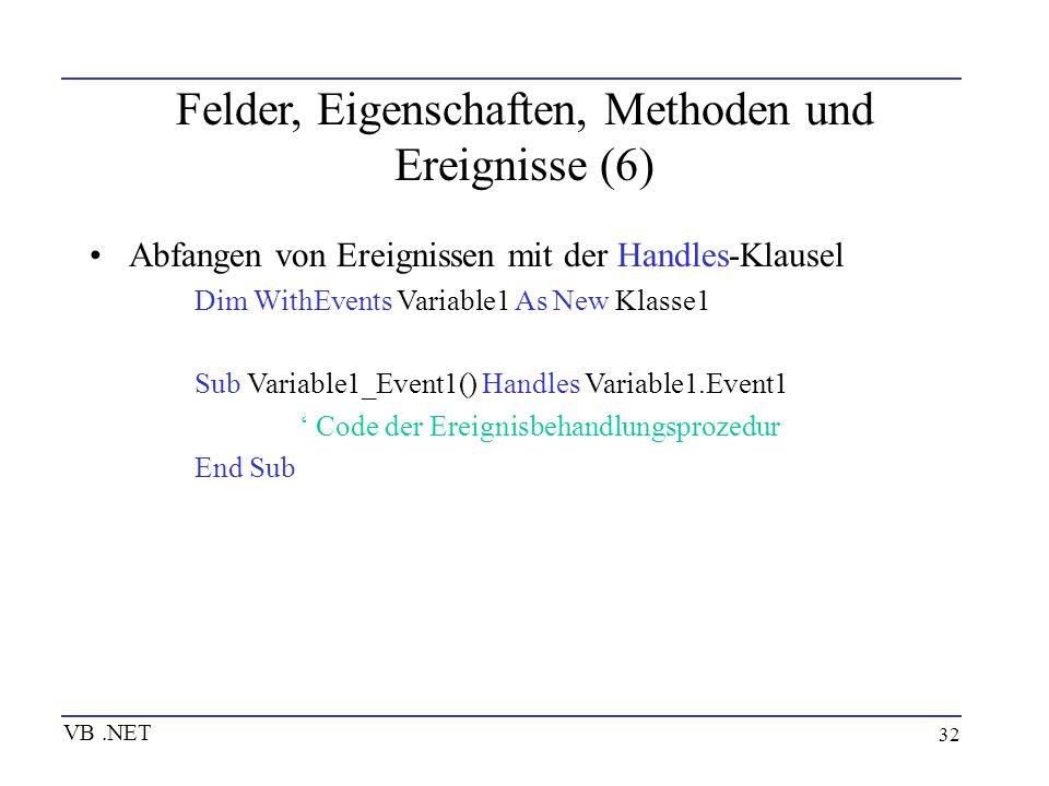 Felder, Eigenschaften, Methoden und Ereignisse (6)