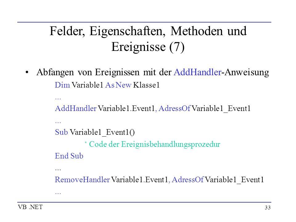 Felder, Eigenschaften, Methoden und Ereignisse (7)