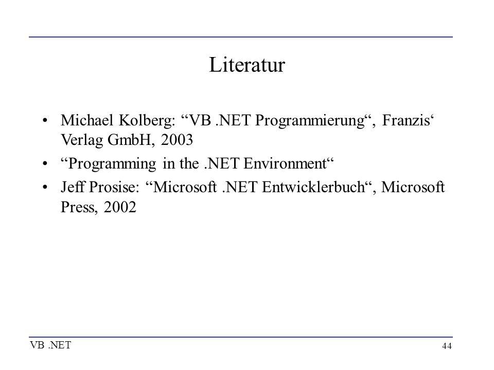 Literatur Michael Kolberg: VB .NET Programmierung , Franzis' Verlag GmbH, 2003. Programming in the .NET Environment