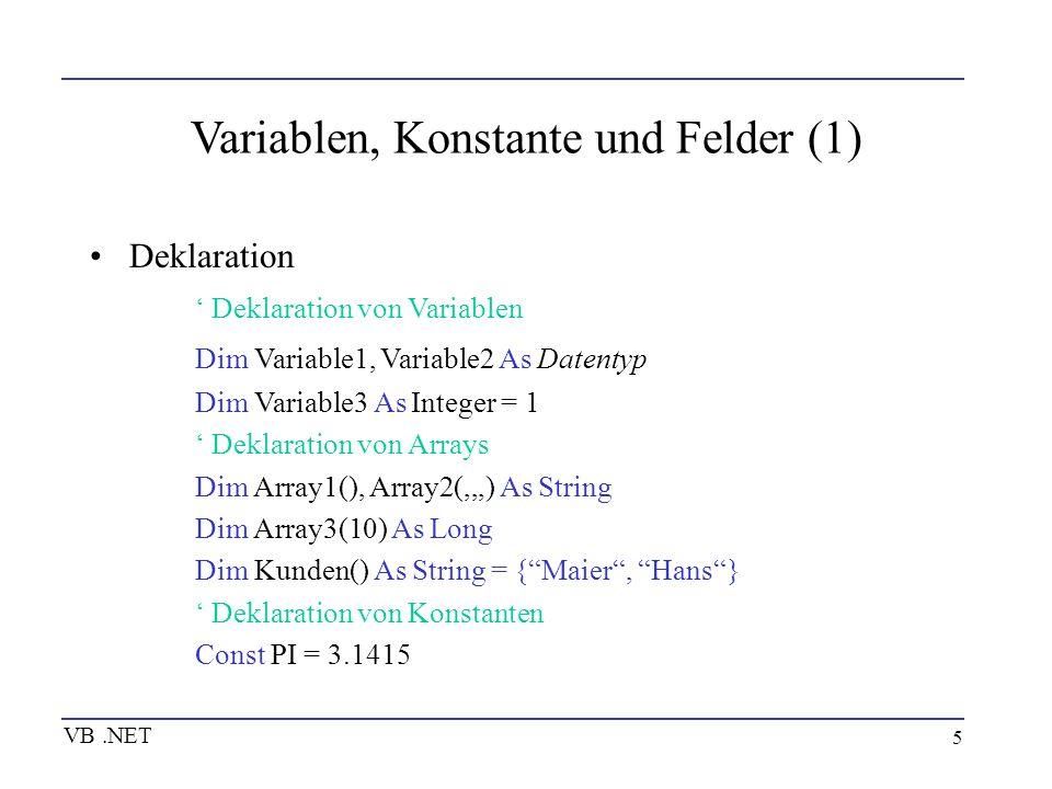 Variablen, Konstante und Felder (1)