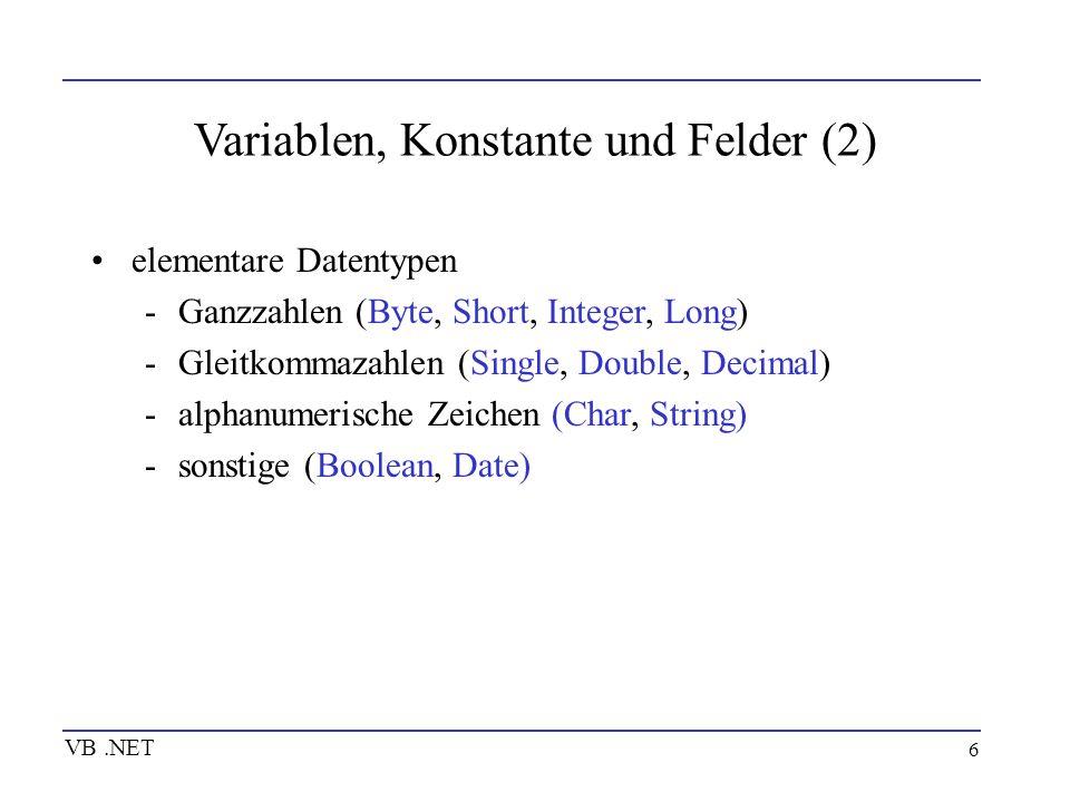 Variablen, Konstante und Felder (2)