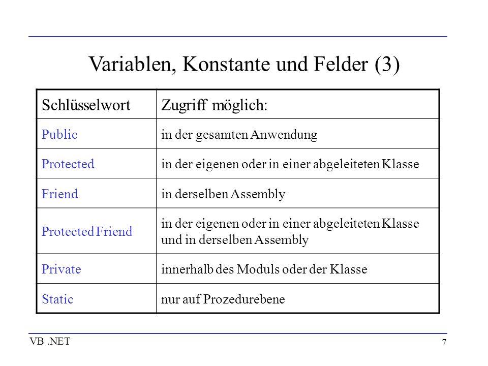 Variablen, Konstante und Felder (3)