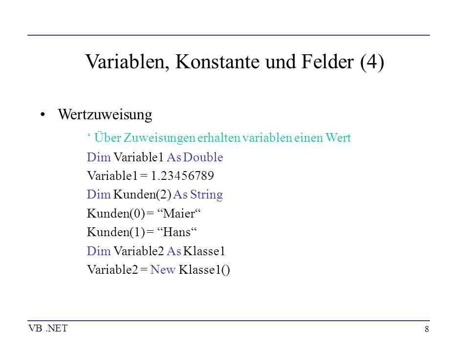 Variablen, Konstante und Felder (4)