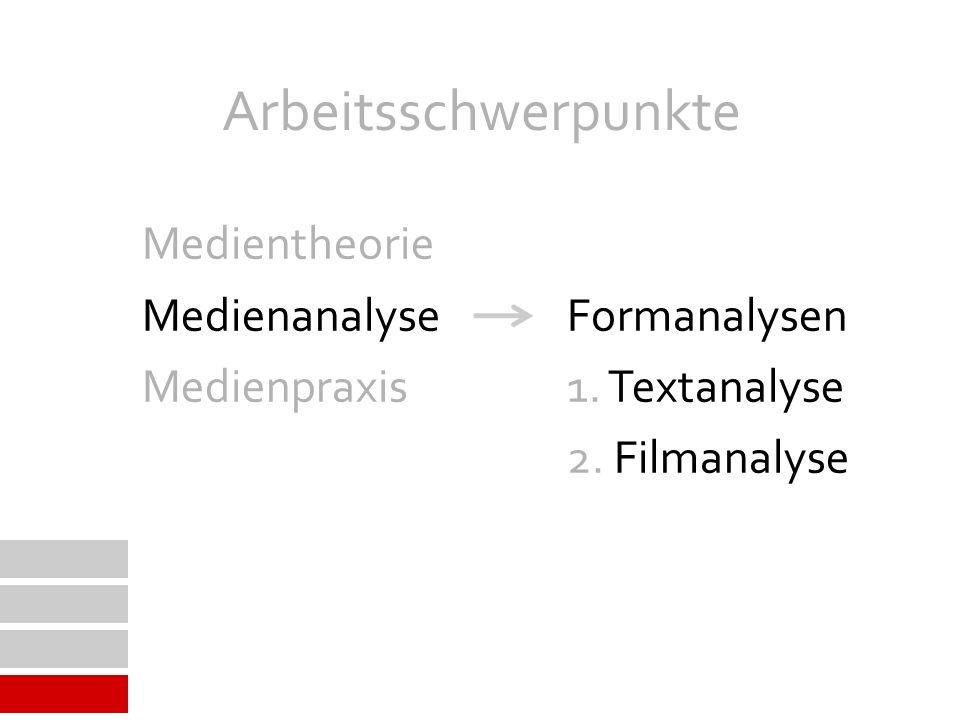 Arbeitsschwerpunkte Medienanalyse Formanalysen