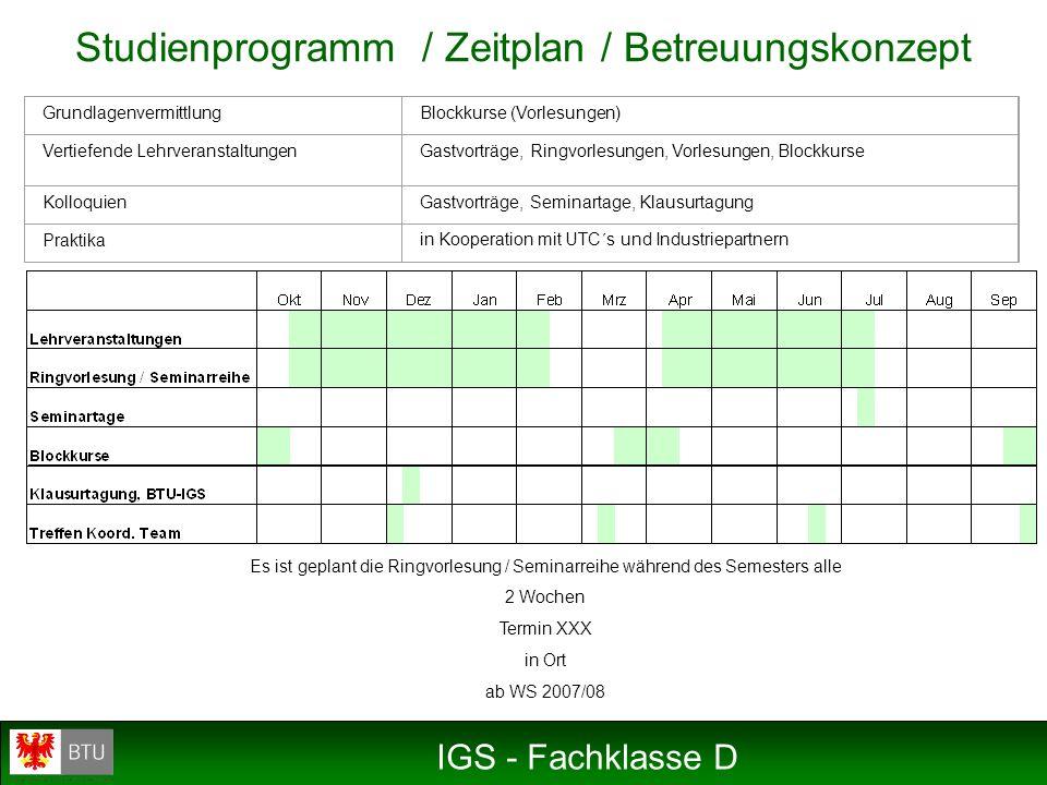 Studienprogramm / Zeitplan / Betreuungskonzept