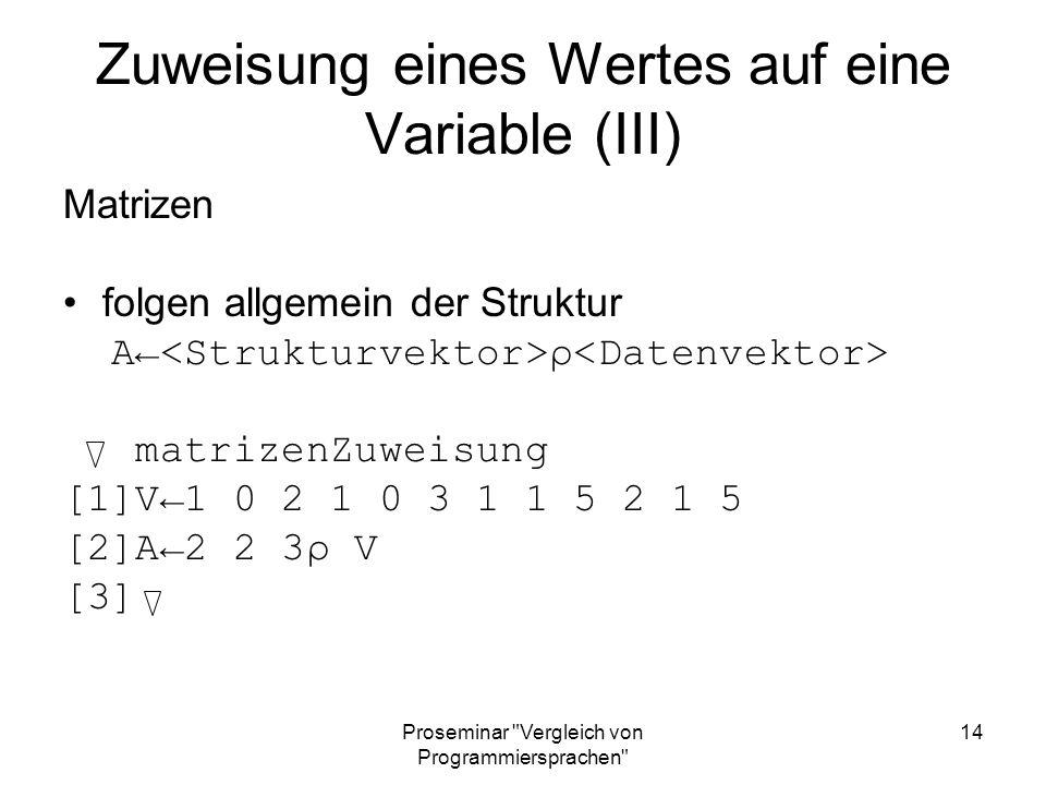 Zuweisung eines Wertes auf eine Variable (III)