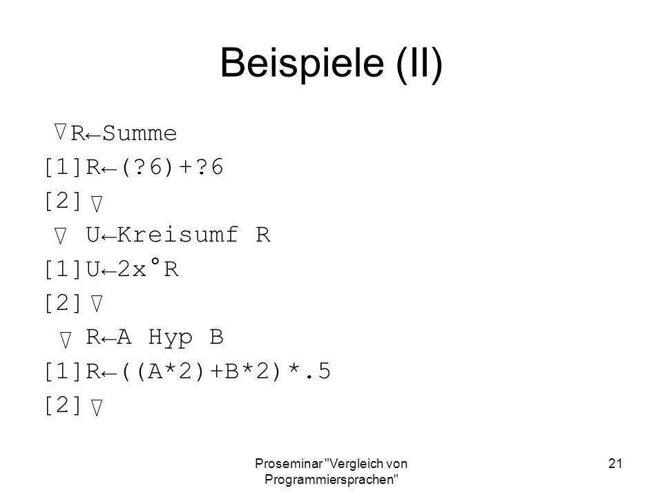 Proseminar Vergleich von Programmiersprachen