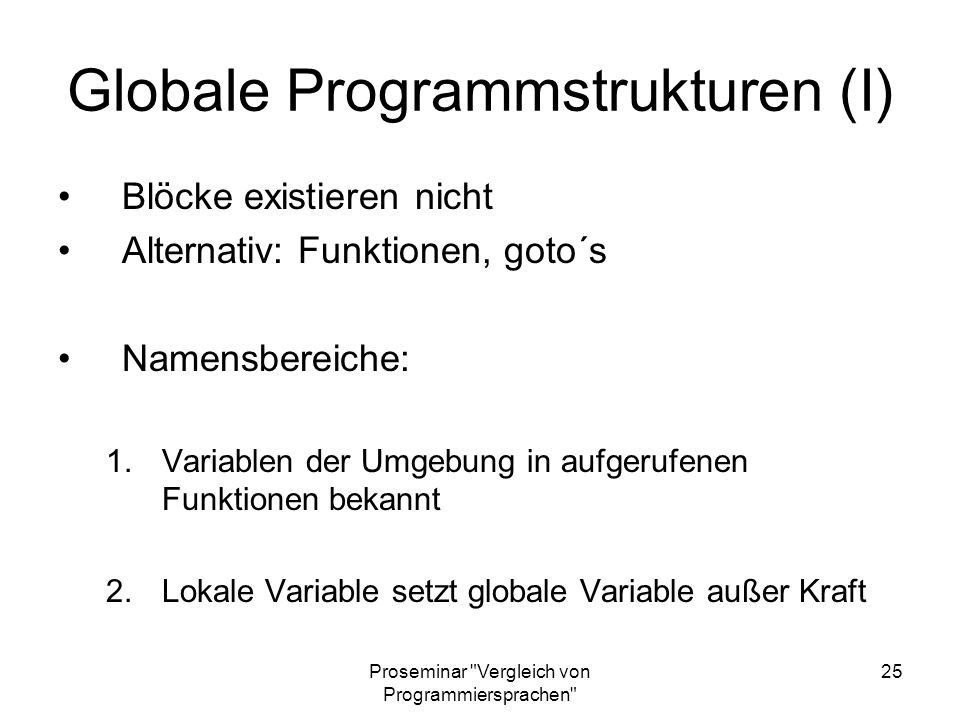 Globale Programmstrukturen (I)
