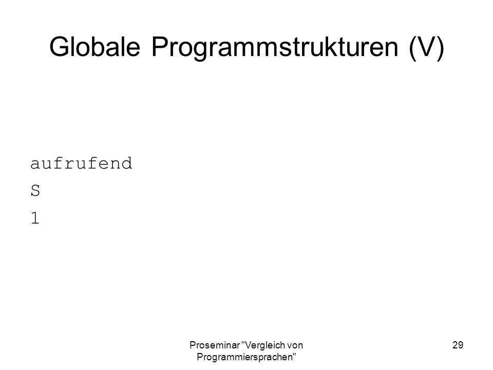 Globale Programmstrukturen (V)
