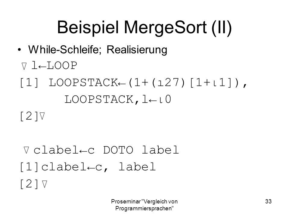Beispiel MergeSort (II)