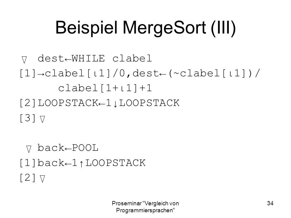 Beispiel MergeSort (III)