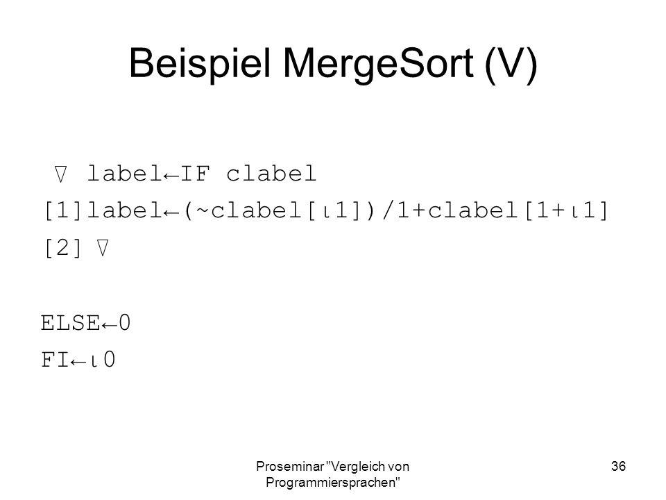 Beispiel MergeSort (V)