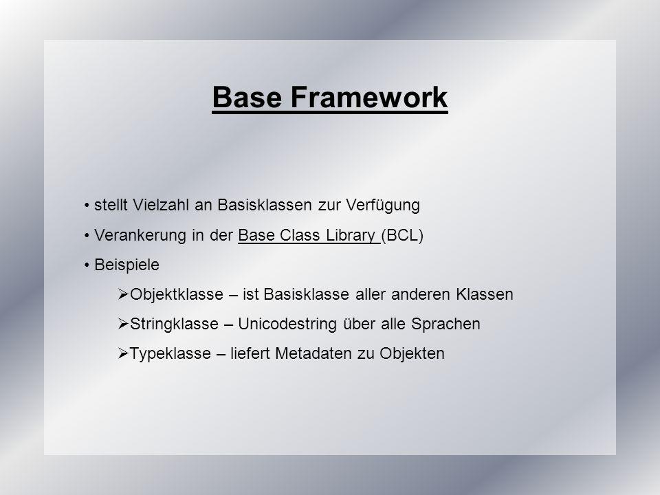 Base Framework stellt Vielzahl an Basisklassen zur Verfügung