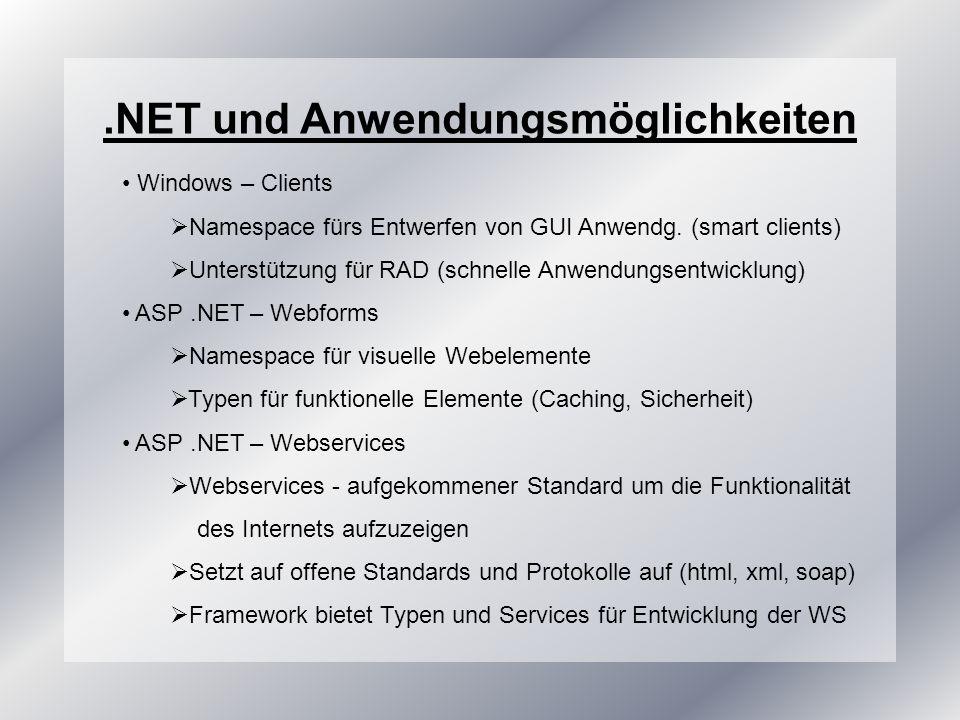 .NET und Anwendungsmöglichkeiten