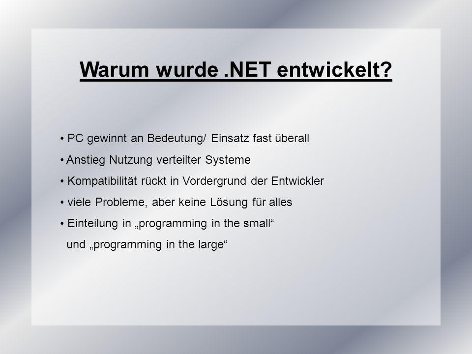 Warum wurde .NET entwickelt