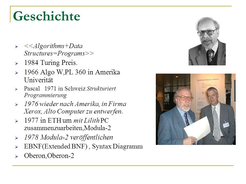 Geschichte 1984 Turing Preis. 1966 Algo W,PL 360 in Amerika Univerität