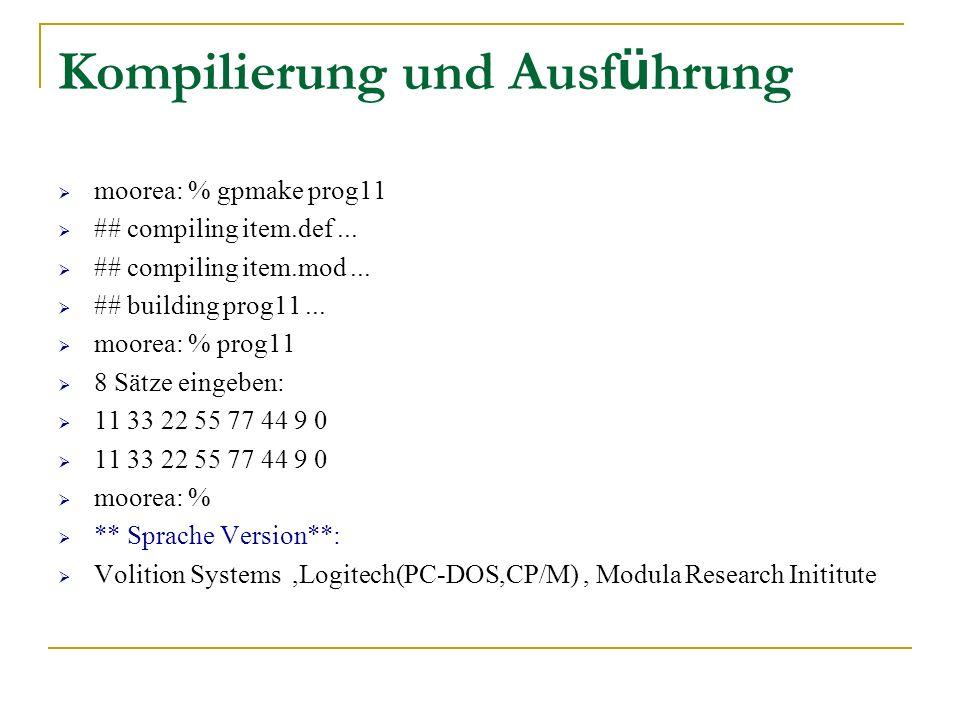 Kompilierung und Ausführung