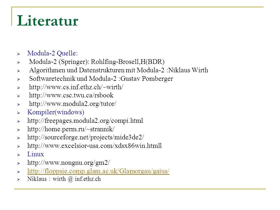Literatur Modula-2 Quelle: