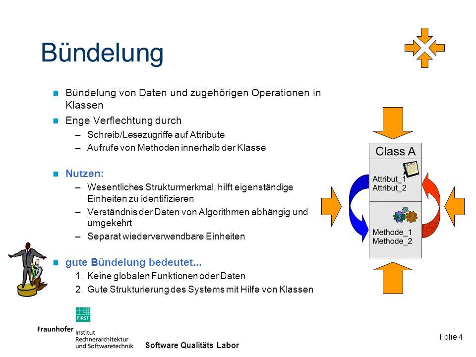 Bündelung Bündelung von Daten und zugehörigen Operationen in Klassen