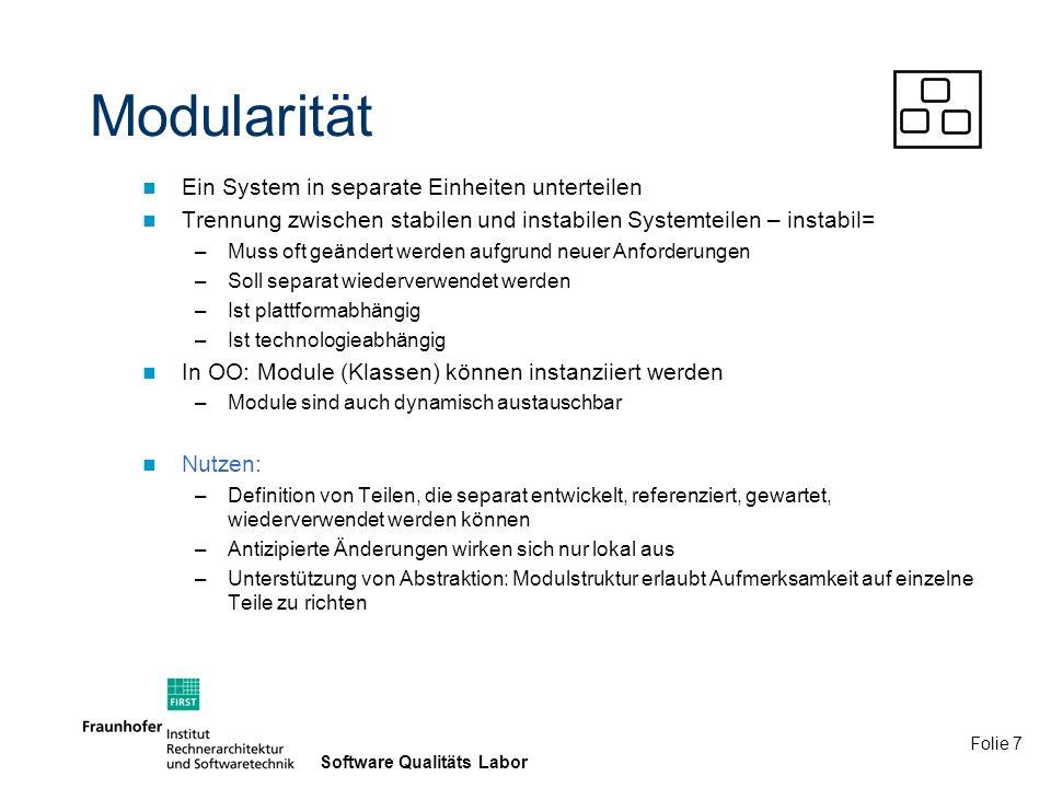 Modularität Ein System in separate Einheiten unterteilen