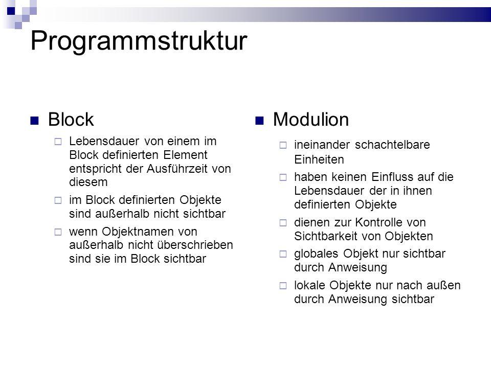 Programmstruktur Block Modulion