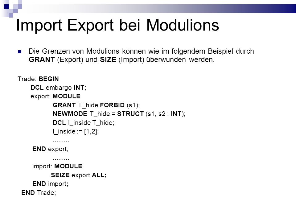 Import Export bei Modulions