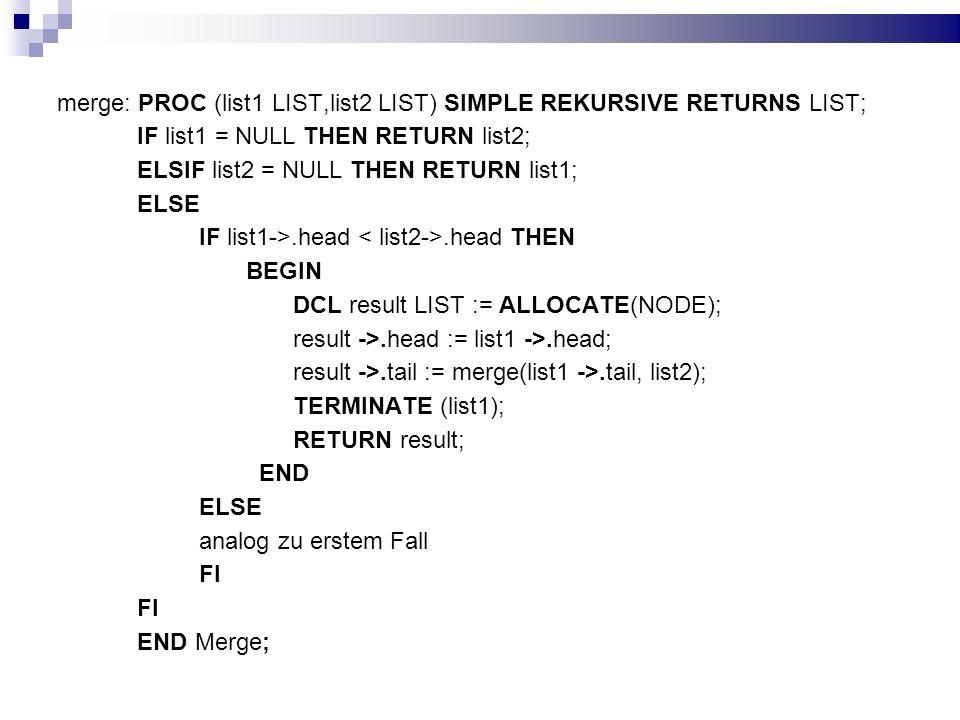 merge: PROC (list1 LIST,list2 LIST) SIMPLE REKURSIVE RETURNS LIST;