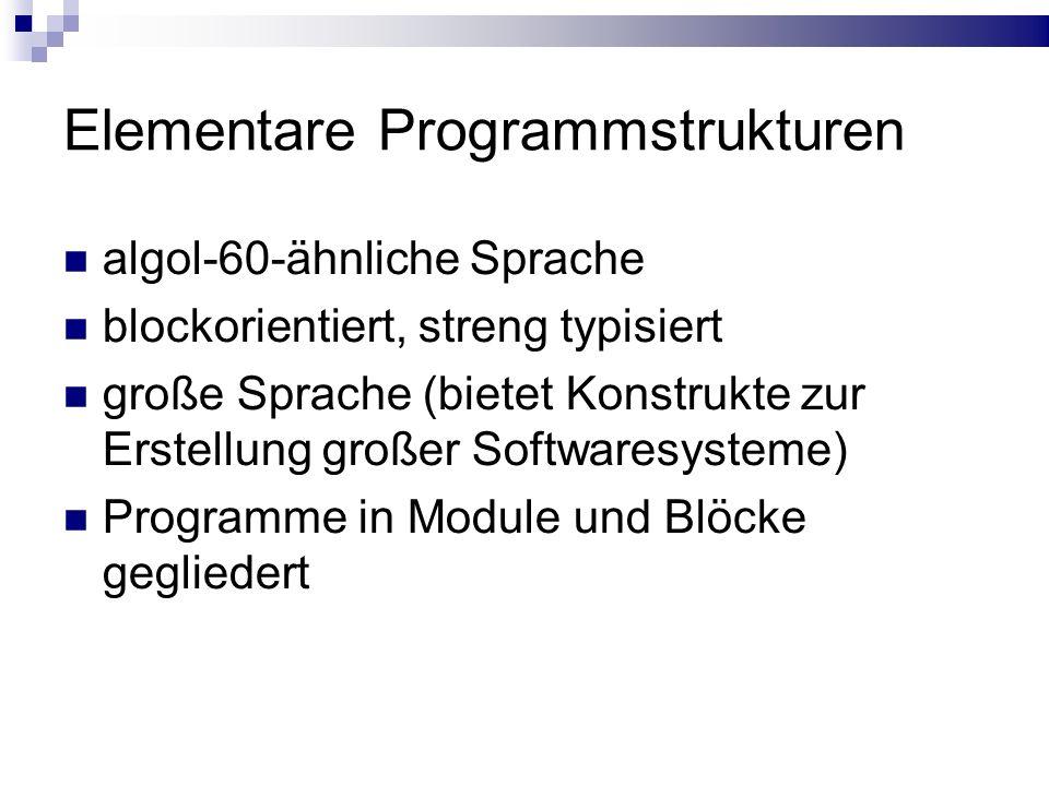 Elementare Programmstrukturen