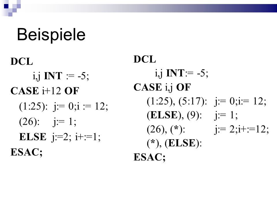 Beispiele DCL DCL i,j INT:= -5; i,j INT := -5; CASE i,j OF