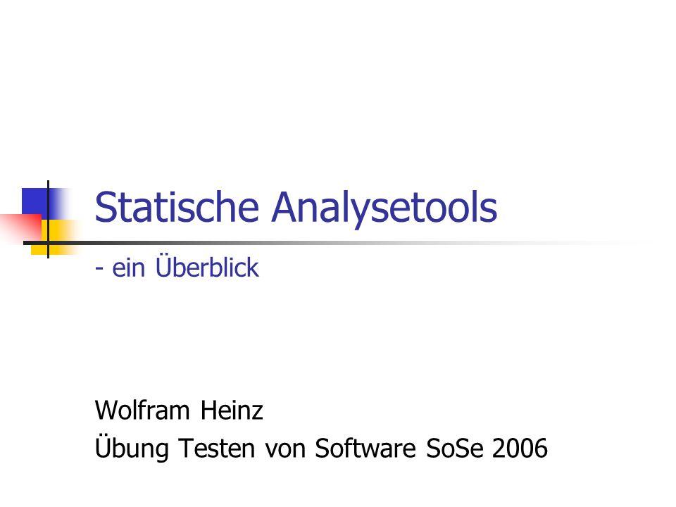 Statische Analysetools - ein Überblick